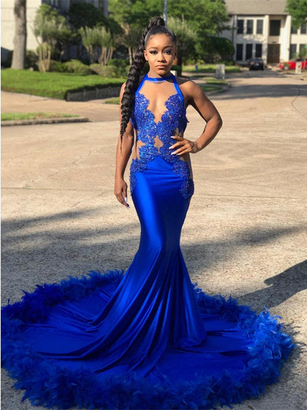 Royal Blue Sexy Lace Mermaid Long Prom Dress, New 2019 Party Dress