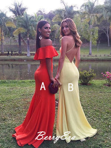 Popular Formal Elastic Satin Prom Dresses, Cheap Long Prom Dresses
