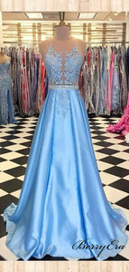 Beads Design A-line Long Prom Dresses, Lace Prom Dresses, Popular Prom Dresses