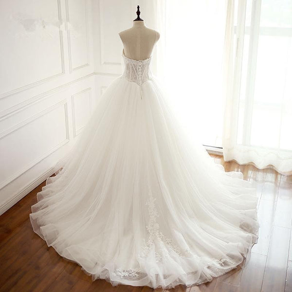 Sweetheart Lace Tulle Long Wedding Dresses