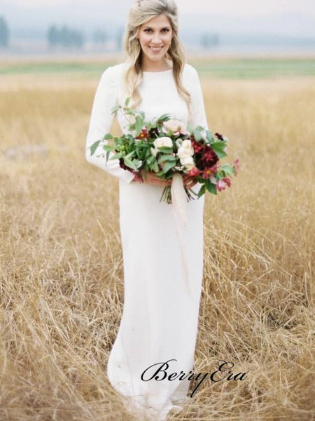 Long Sleeves Simple Outdoor Wedding Dresses, Bridal Gowns With Slit, Cheap Wedding Dresses
