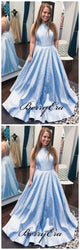 Beaded Satin A-line Prom Dresses, Charming Prom Dresses, Popular Prom Dresses