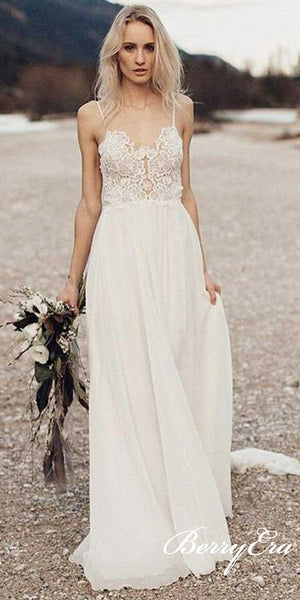 Spaghetti Long A-line Lace Chiffon Beach Wedding Dresses