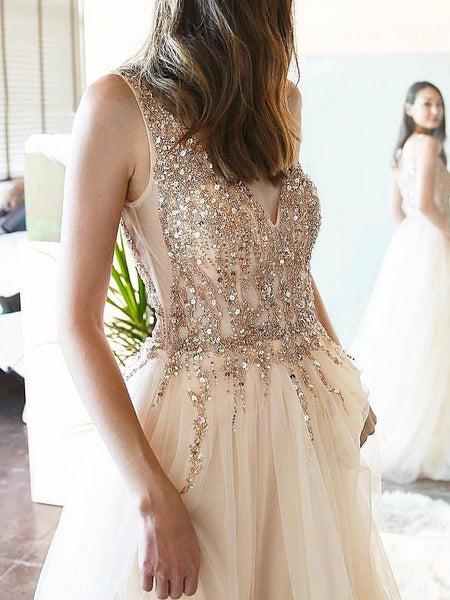 Long A-line Beaded Tulle Prom Dresses, Newest Prom Dresses