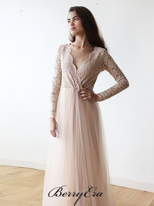 V-neck Long Sleeves Lace Top Tulle Long Wedding Dresses