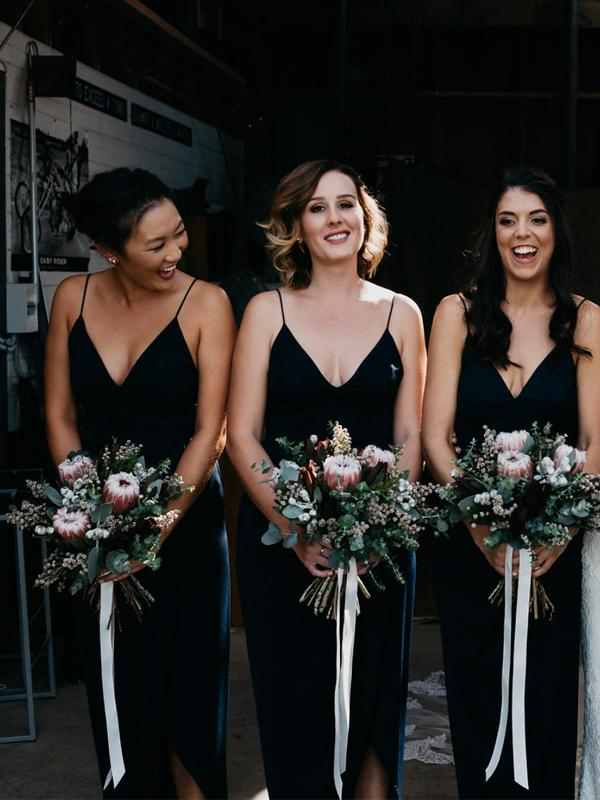 Spaghetti Long Sheath Side Slit V-neck Black Bridesmaid Dresses