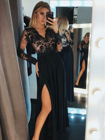 V-neck Long Sleeves Black Lace Prom Dresses, Side Slit Prom Dresses