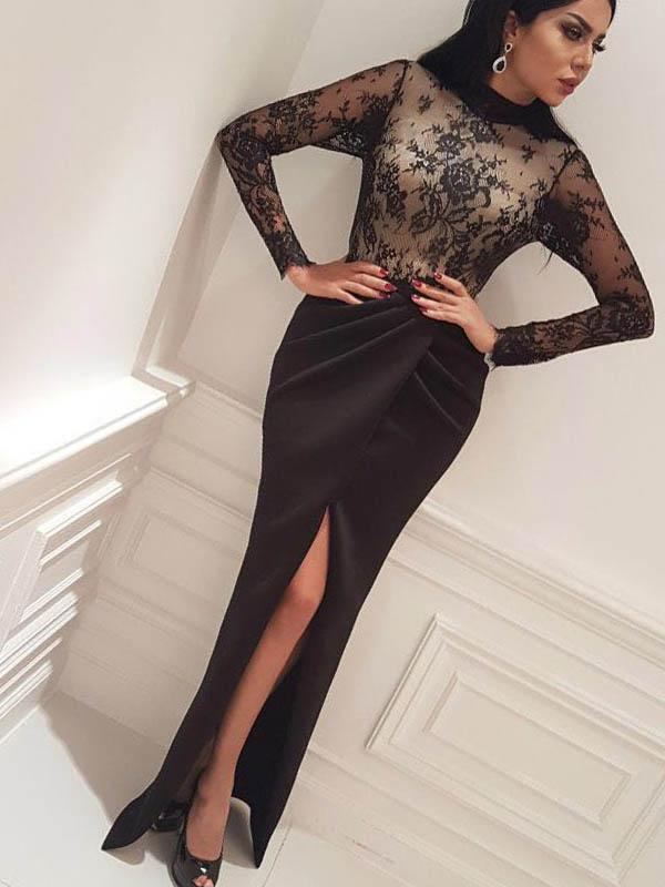 Sexy High Slit Prom Dresses, Lace Evening Dresses