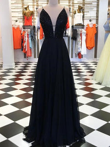 Black V-neck Tulle Beaded Long A-line Prom Dresses