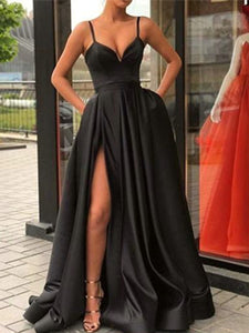 Spaghetti Long A-line Side Slit Black Satin Prom Dresses