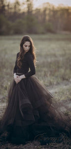 2 Pieces Long Sleeves Black Jersey Top Tulle Wedding Dresses, Bridal Gown