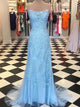 Spaghetti Long Sheath Light Blue Lace Prom Dresses