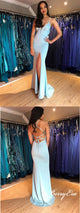 Spaghetti Long Mermaid Side Slit Prom Dresses, Blue Prom Dresses, Long Prom Dresses