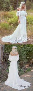 Off Shoulder Long Sheath Lace Boho Wedding Dresses