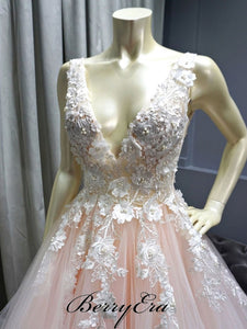 V-neck Lace Top Beaded A-line Pale Pink Prom Dresses