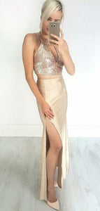 2 Pieces Long Mermaid Prom Dresses, Sexy Sequin Evening Dresses