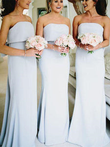 Strapless Long Mermaid Light Blue Bridesmaid Dresses