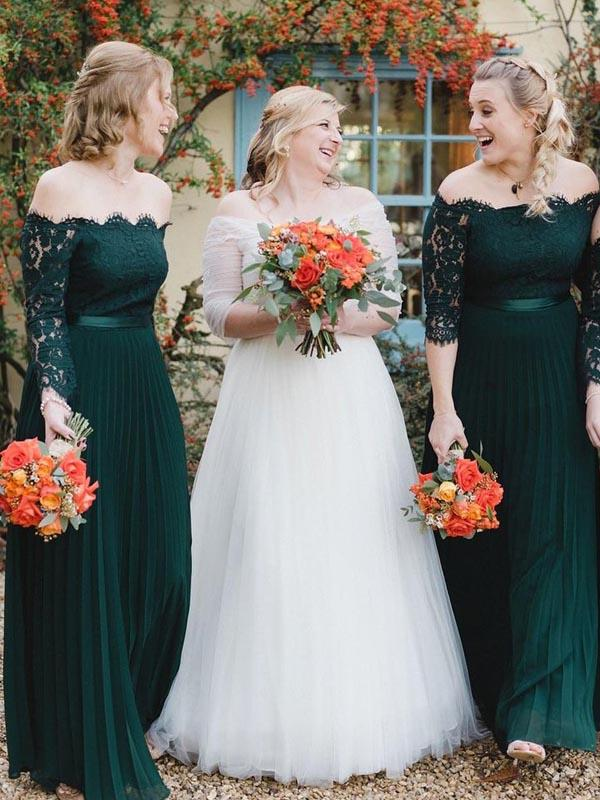 Off Shoulder Emerald Green Long A-line Chiffon Lace Bridesmaid Dresses