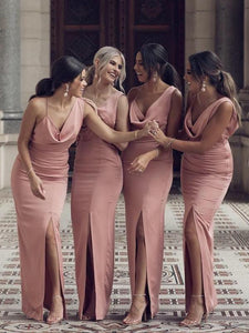 Dusty Rose Long Mermaid Front Slit Bridesmaid Dresses