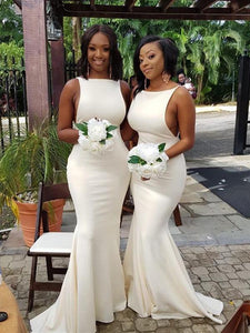 Sexy Ivory Long Mermaid Bridesmaid Dresses, Bridal Party Dresses