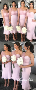 One Shoulder Long Mermaid Pink Bridesmaid Dresses, Lovely Bridesmaid Dresses, Cheap Bridesmaid Dresses
