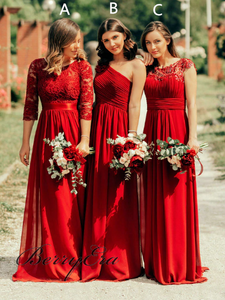 Mismatched Chiffon Lace Bridesmaid Dresses, Long Bridesmaid Dresses