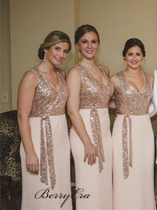 V-neck Sequin Top Sheath Bridesmaid Dresses, Elegant Bridesmaid Dresses, Bridesmaid Dresses
