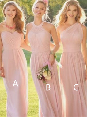 Mismatched Pink Chiffon A-line Bridesmaid Dresses