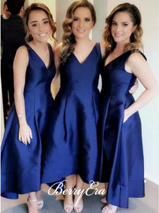 V-neck A-line Navy Satin Bridesmaid Dresses, Wedding Guest Dresses