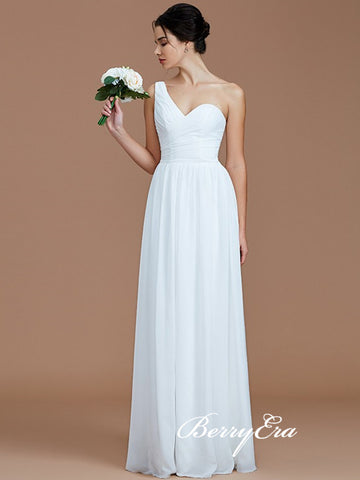 One Shoulder White Chiffon A-line Bridesmaid Dresses