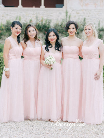 Pink Convertible Long A-line Tulle Bridesmaid Dresses