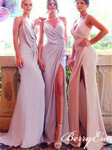 Spaghettu Long Mermaid Side Slit Jersey Bridesmaid Dresses