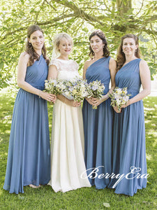 One Shoulder A-line Chiffon Long Bridesmaid Dresses