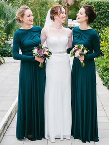 Long Sleeves Jersey Bridesmaid Dresses, Affordable Wedding Guest Dresses