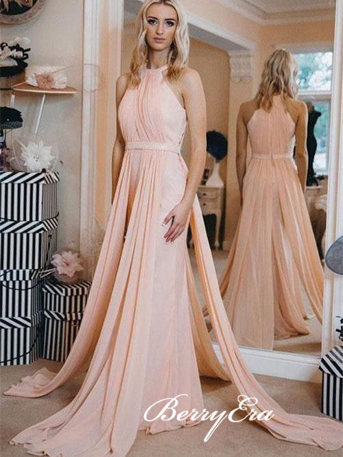 Sleeveless Long Pink Elegant Wedding Guest Dresses, Bridesmaid Dresses