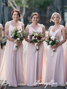 Cap Sleeves A-line Blush Pink Chiffon Lace Long Bridesmaid Dresses