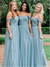 Off Shoulder A-line Blue Tulle Long Bridesmaid Dresses