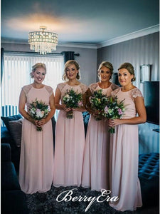 Cap Sleeves A-line Chiffon Blush Pink Long Bridesmaid Dresses