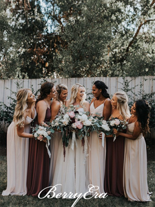 Spaghetti Chiffon A-line Bridesmaid Dresses, Country Wedding Guest Dresses