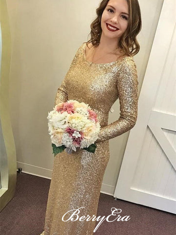 Long Sleeves Scoop Sheath Gold Sequin Bridesmaid Dresses