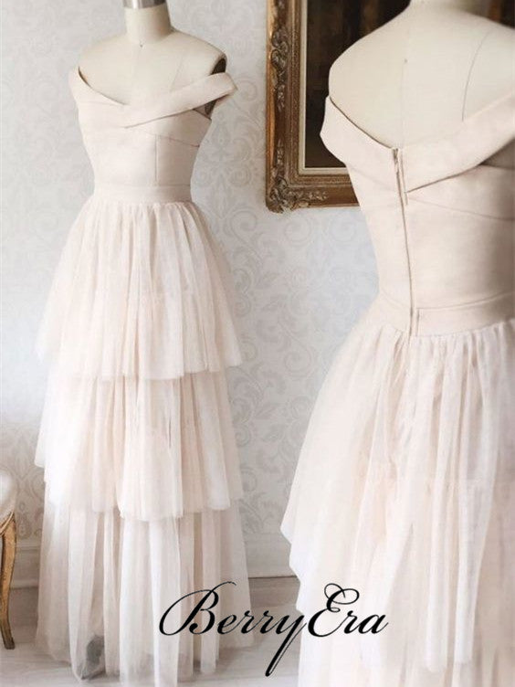 Off Shoulder Simple Tulle Bridesmaid Dresses, Long Bridesmaid Dresses