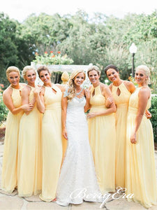 A-line Yellow Chiffon Long Simple Bridesmaid Dresses