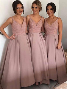 V-neck A-line Dusty Pink Beaded Bridesmaid Dresses, Long Bridesmaid Dresses