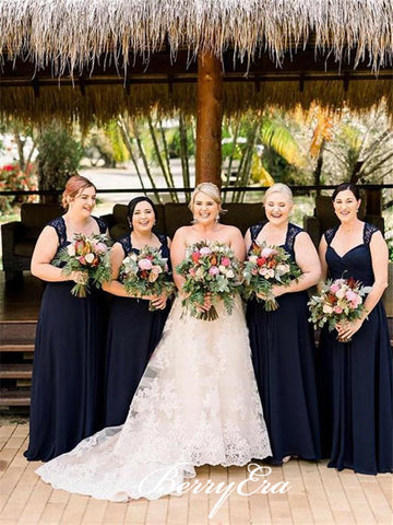 Elegant Lace Chiffon Navy Long Bridesmaid Dresses