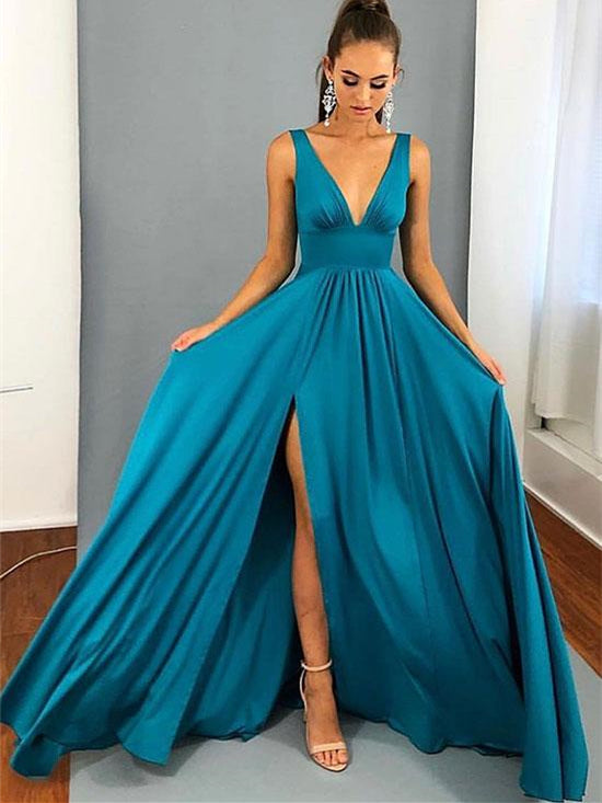 V-neck Long A-line Side Slit Jersey Bridesmaid Dresses, Wedding Party Dresses