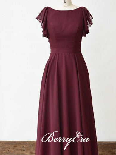 Lovely Cap Sleeve Maroon Chiffon A-line Long Bridesmaid Dresses