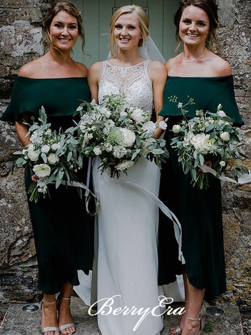 Off Shoulder Emerald Green Bridesmaid Dresses