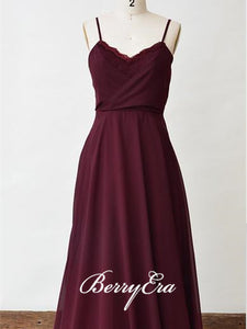 Spaghetti Maroon Long A-line Chiffon Lace Bridesmaid Dresses