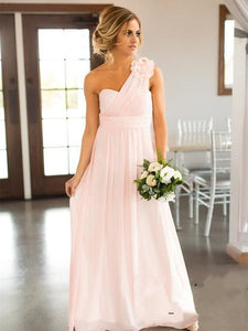 One Shoulder A-line Pink Chiffon Bridesmaid Dresses