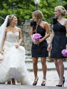 One Shoulder Short Black Bridesmaid Dresses